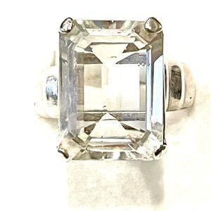 Sterling White Topaz Ring Sz 7